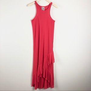 Free People Sleeveless Hi Low Maxi Ruffle Dress XS